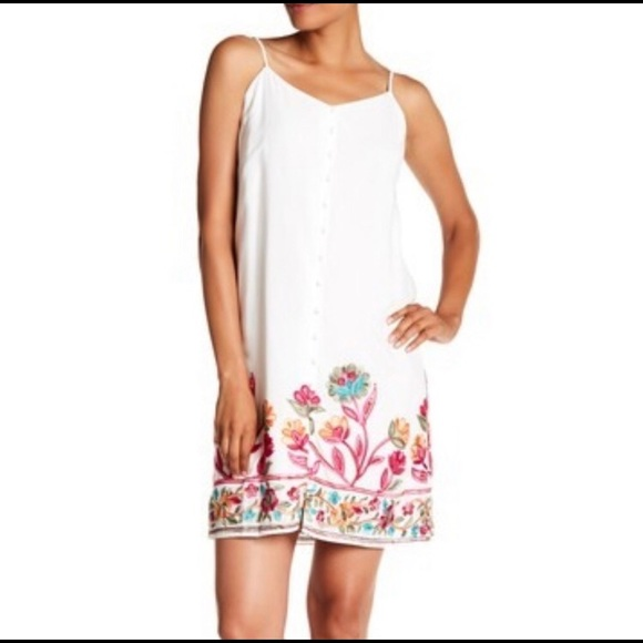 Hailey Lyn Embroidered Tie Sleeveless Dress White